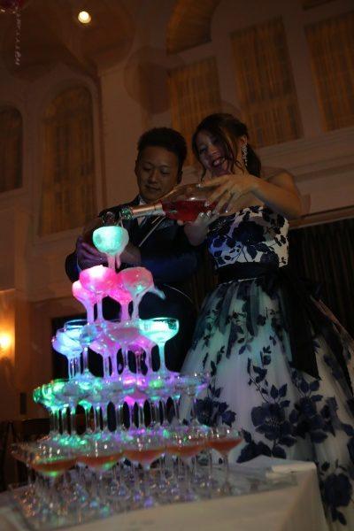 新潟県 三条市 結婚式場 ピアザデッレグラツィエ シャンパンタワー