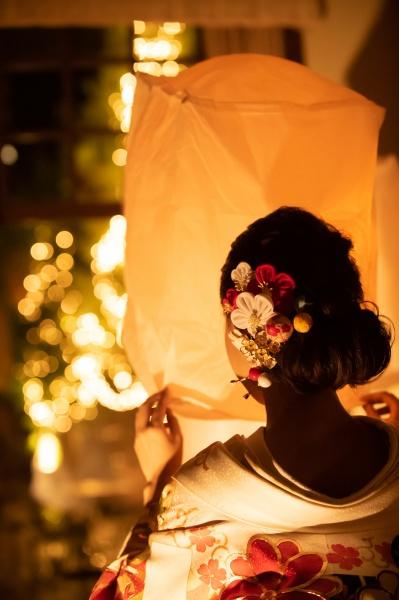 新潟県三条市 長岡市 燕市 結婚式場 スカイランタン ナイトウェディング 和装