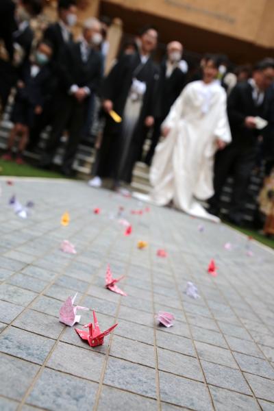 新潟県三条市 長岡市 新潟市 結婚式場 ピアザデッレグラツィエ  パーティーレポート 卒花 和装 白無垢 折り鶴シャワー